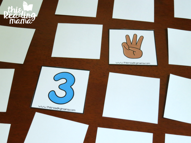 number sorting cards - playing memory match