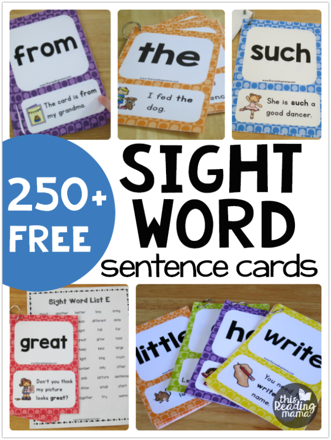 250+ FREE Sight Word Sentence Cards - This Reading Mama