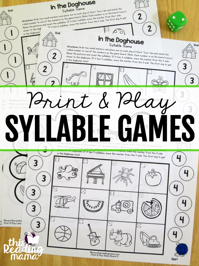 picture regarding Syllable Games Printable named Print and Engage in Syllable Online games - This Studying Mama