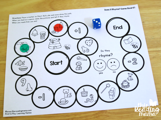 print and play rhyming game - two people playing