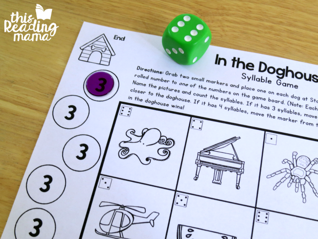 print and play syllable game - in the doghouse winner
