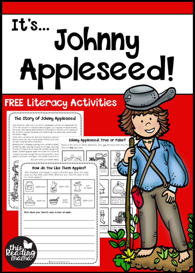 Johnny Appleseed Literacy Activities (FREE) - This Reading Mama