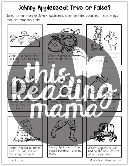 Johnny Appleseed True or False Comprehension Coloring Page - This Reading Mama