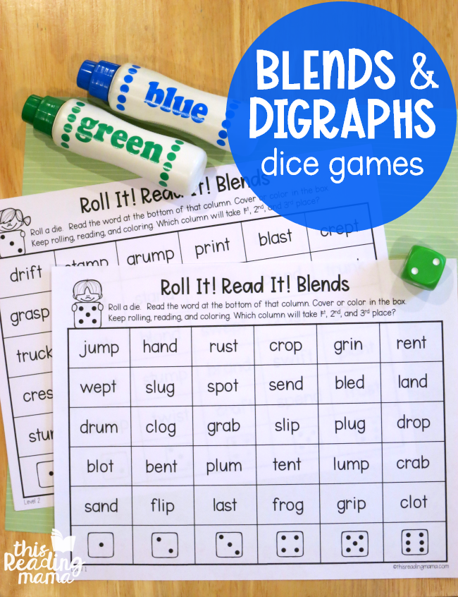 Phonics Dice Games for Blends and Digraphs