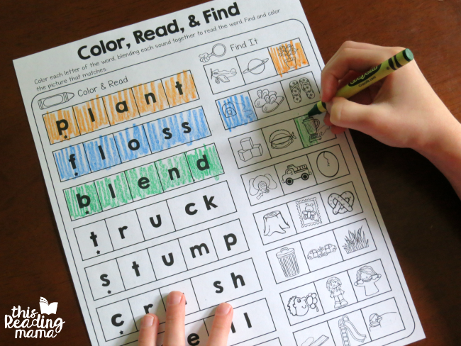 coloring in the picture after sounding out words