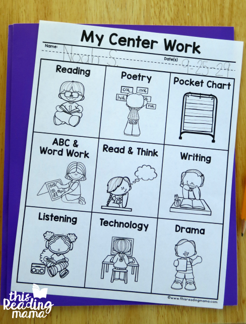 editable literacy center menu for k-2 learners