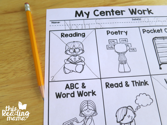 literacy center menu - 2nd time at center, finish the x