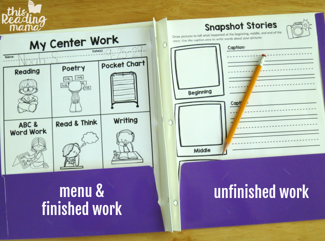 literacy center menu in center folder