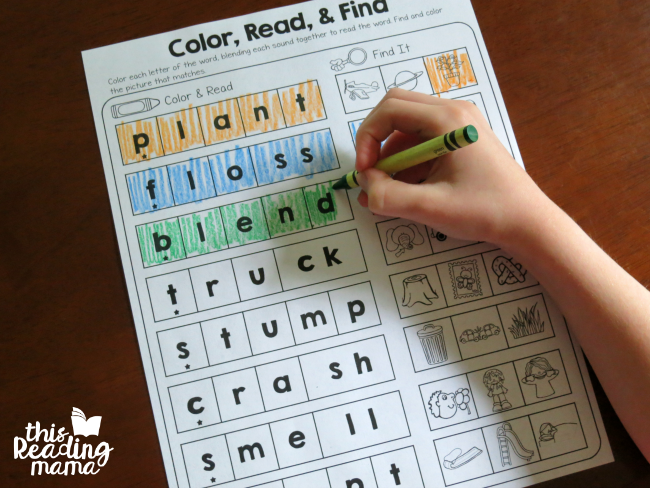 sounding out words as learners color each letter and blend the sounds