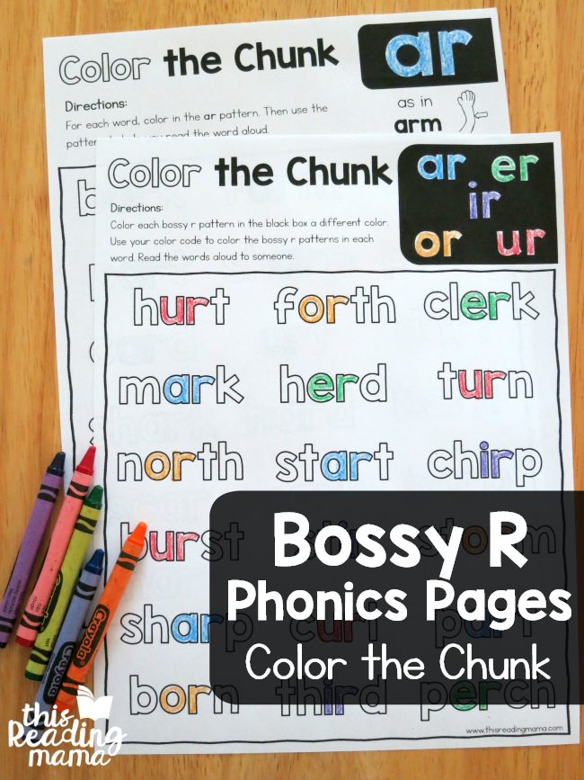 Color the Chunk – Bossy R Phonics Pages