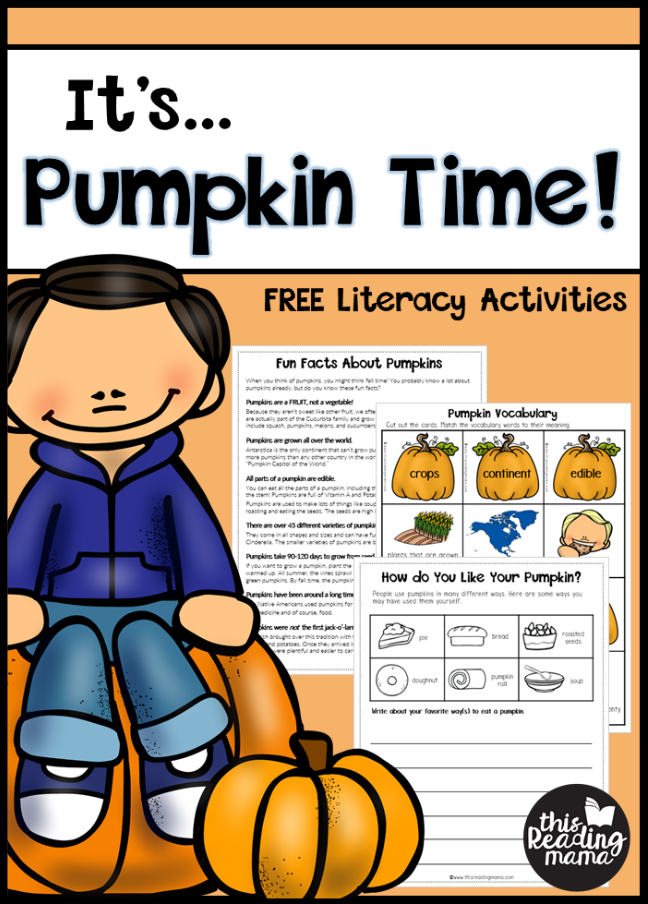 Pumpkin Literacy Activities for K-3 Learners