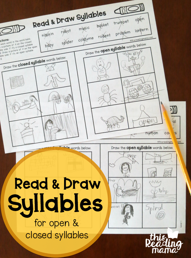 Read and Draw - Open and Closed Syllable Pages - This Reading Mama