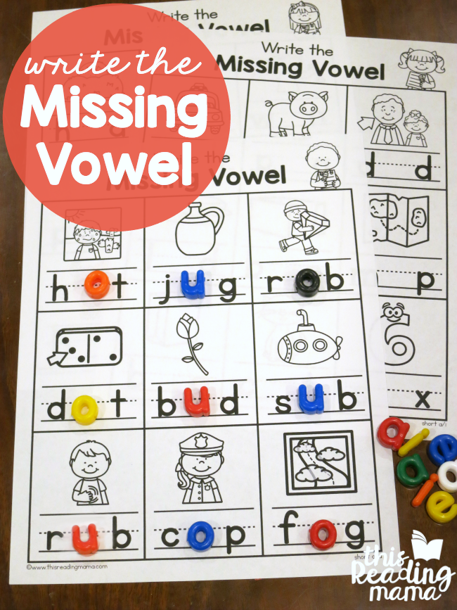 Printable Worksheets writing cvc words worksheets : Write the Missing Vowel Worksheets - CVC Words - This Reading Mama