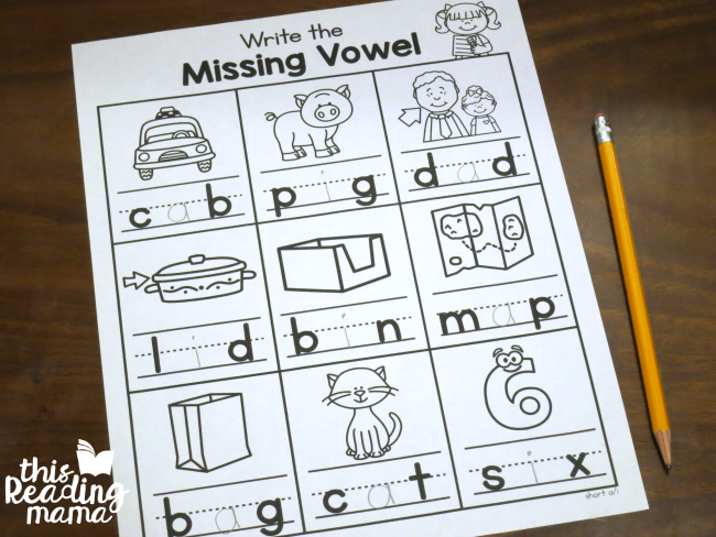 write the missing vowel worksheets - short a and short i example