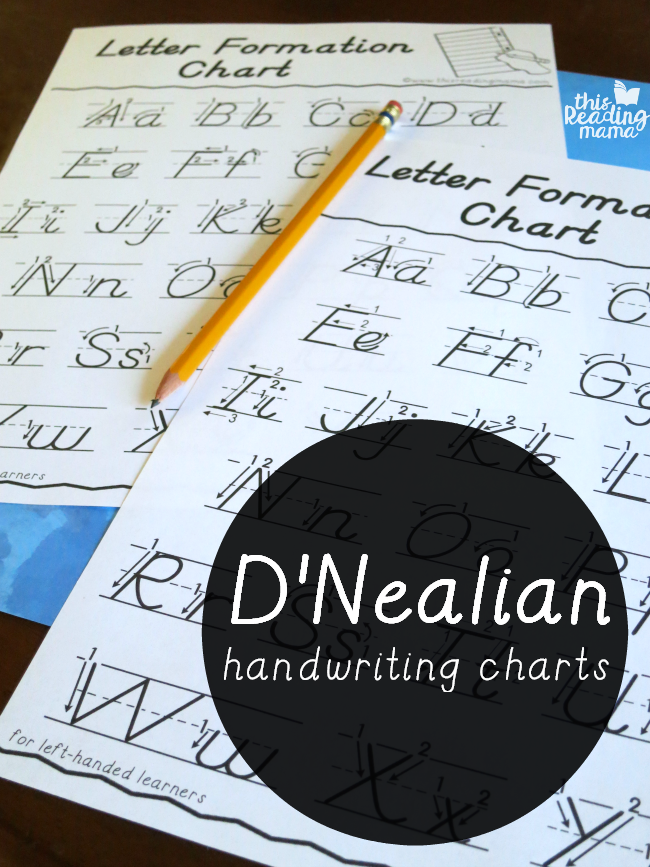 D'Nealian Handwriting Charts for Right-Handed AND Left-Handed Learners - This Reading Mama