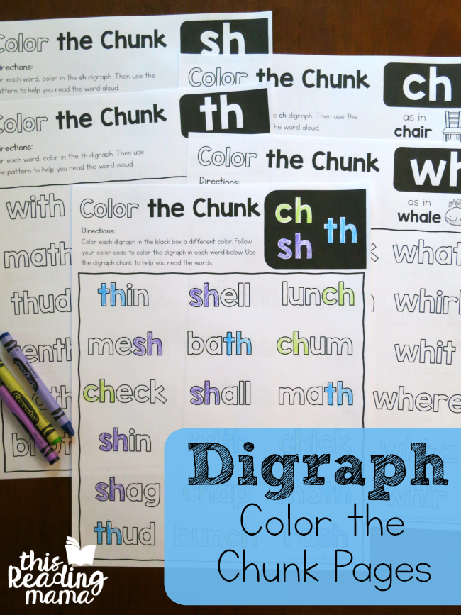 Color the Chunk Digraph Pages - helping learners find and read by chunks - This Reading Mama