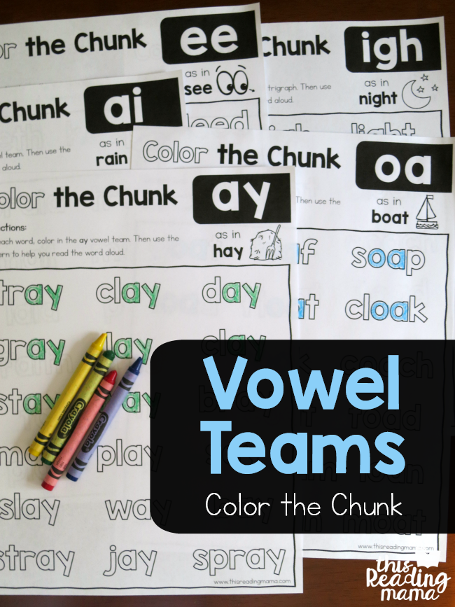 Vowel Team Phonics Worksheets – Color the Chunk