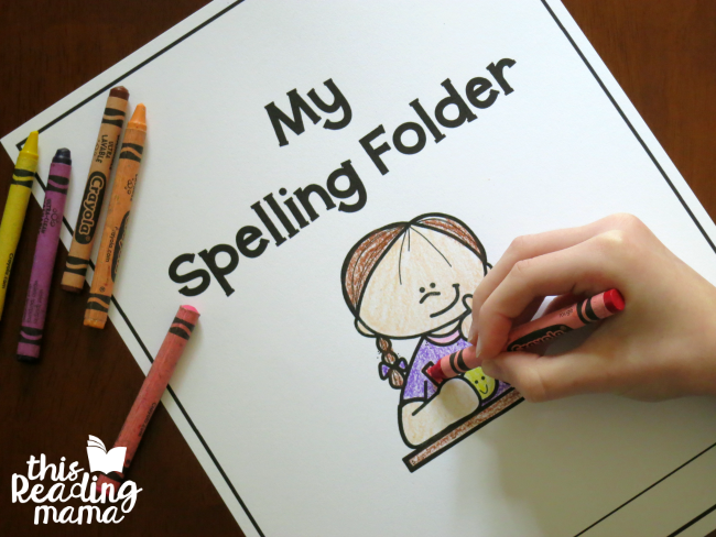 coloring cover of spelling folder