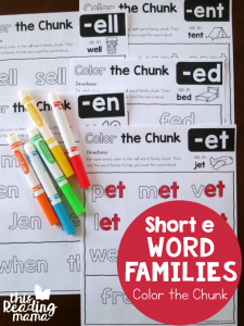 Color the Chunk – Short e Word Families