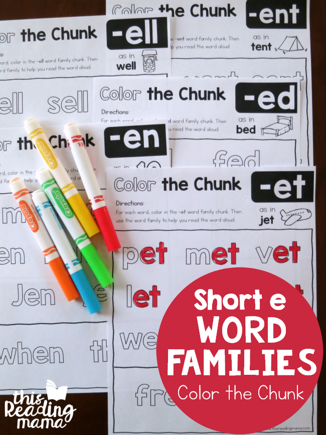 Color the Chunk - Short e Word Families - This Reading Mama