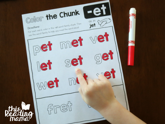 Color the Chunk -et word family page