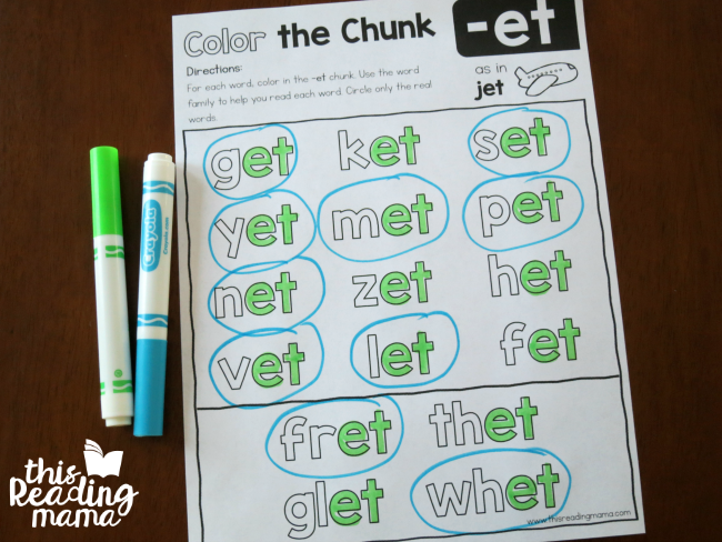 Level 2 Color the Chunk Short e Word Families -et example