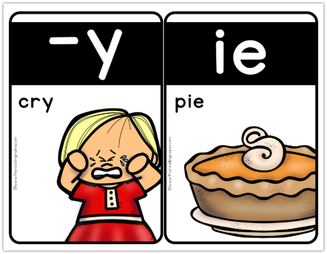 Medium Phonics Cards - long i - cry and pie