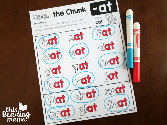 color the chunk -at word family level 2 page