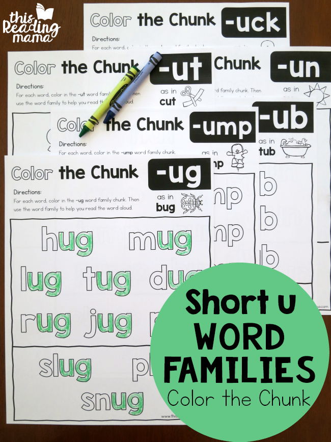 Color the Chunk – Short u Word Families