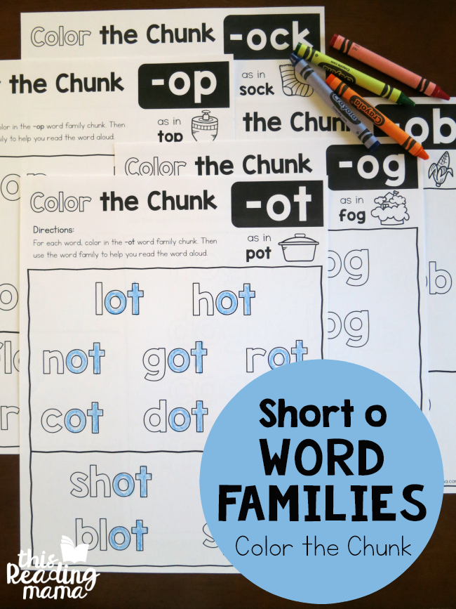 Color the Chunk – Short o Word Families
