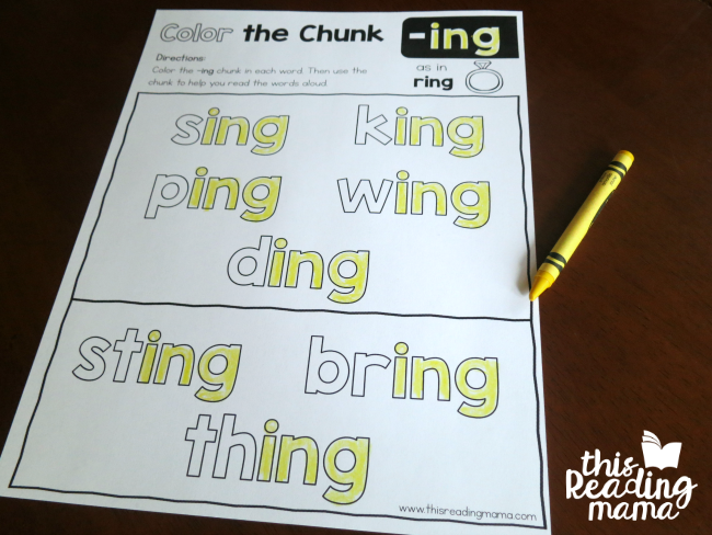 Color the Chunk -ing phonics page