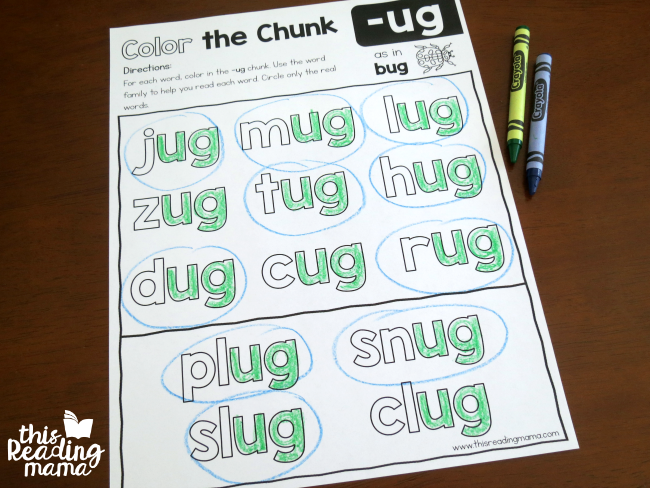 Color the Chunk -ug family level 2 example