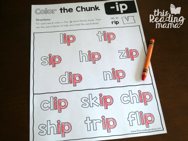 Color the Chunk with the -ip word family - level 1 page