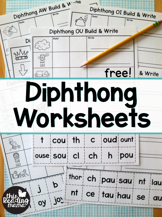 Digraph Worksheets - Build and Write - free from This Reading Mama