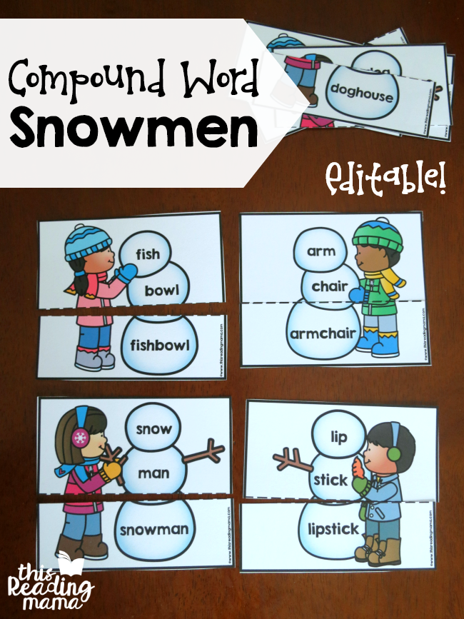 Editable Compound Word Snowmen