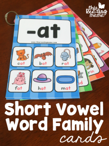 Short Vowel Word Family Cards