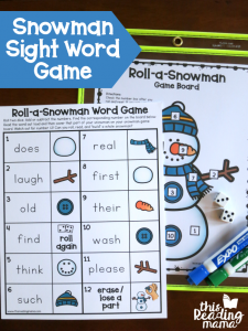 Roll a Snowman Sight Word Game