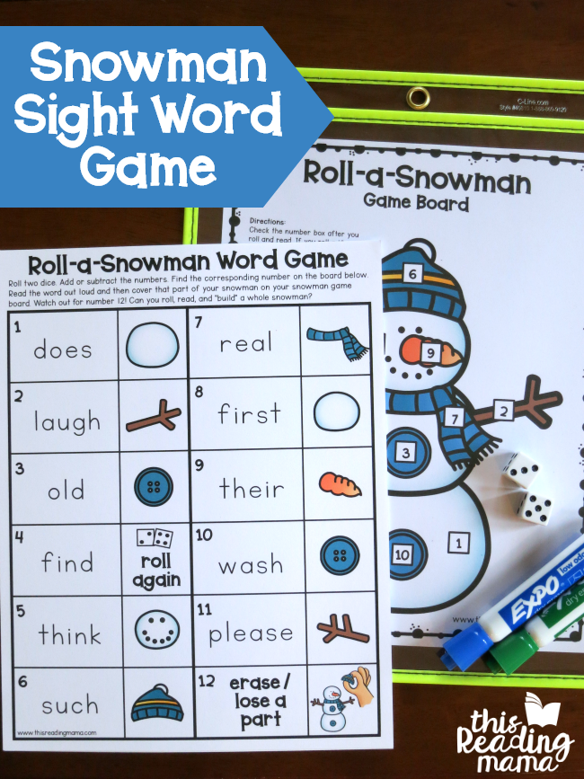 Roll a Snowman Sight Word Game - editable - This Reading Mama