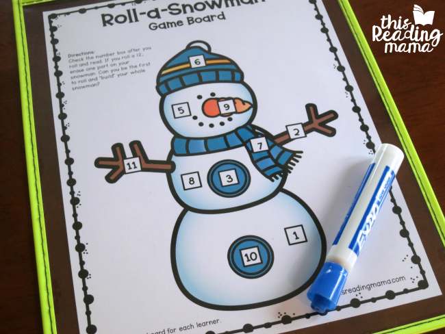 Snowman Sight Word Game Board