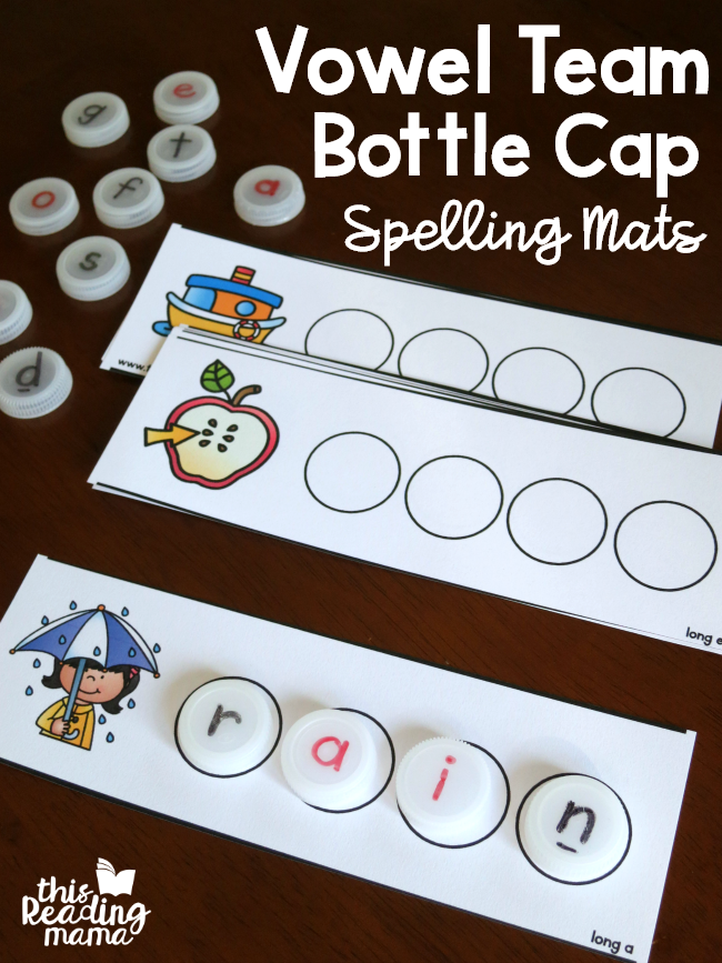Vowel Team Bottle Cap Spelling Mats