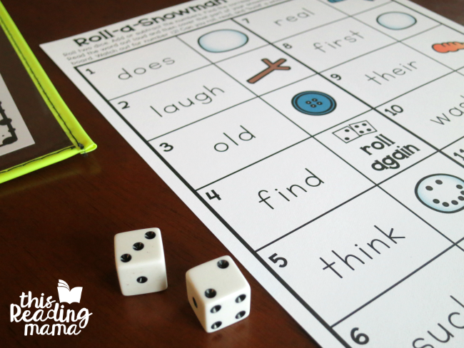 add or subtract dice on the snowman sight word game