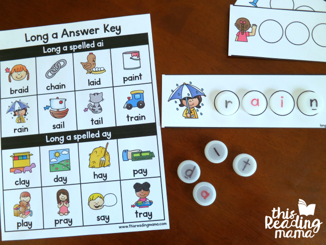 answer key for vowel team bottle cap spelling mats