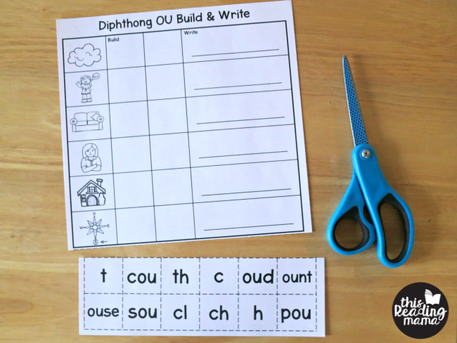 cut out diphthongs on diphthong worksheets