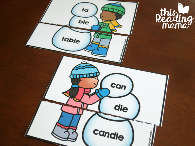 editable snowmen - use for other 2-syllable words