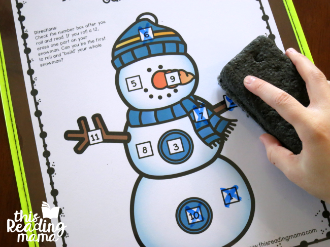 erasing a part of the snowman when a 12 is rolled