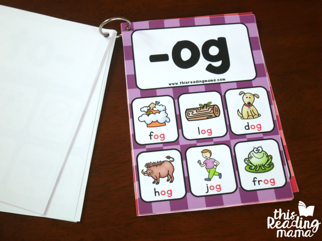 make a flip book with the short vowel word family cards