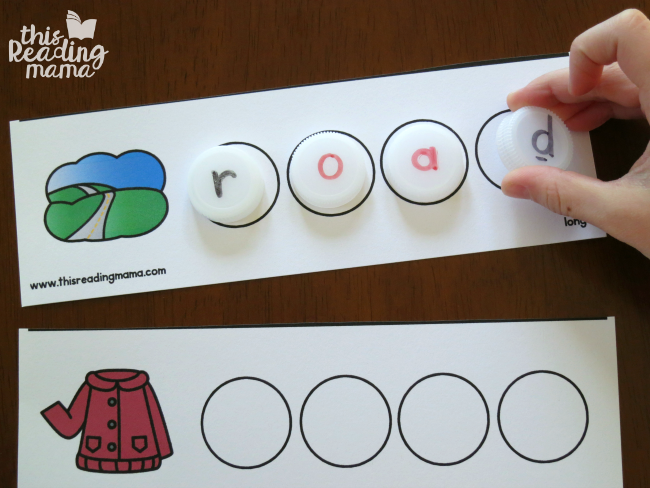 spelling vowel team words with bottle caps