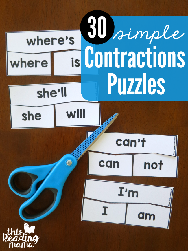 30 SIMPLE Contractions Puzzles - free from This Reading Mama