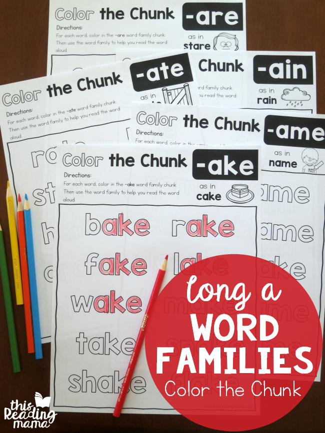 Color the Chunk Pages for Long a Word Families - This Reading Mama