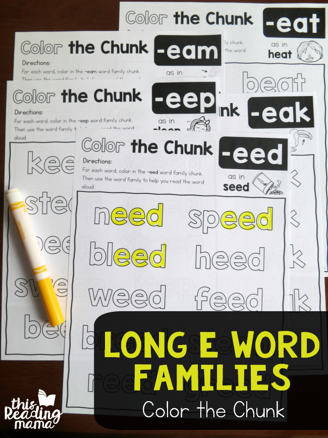 Long e Word Families - Color the Chunk - This Reading Mama